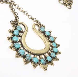 Lucky Brand Turquoise Squash Blossom Necklace